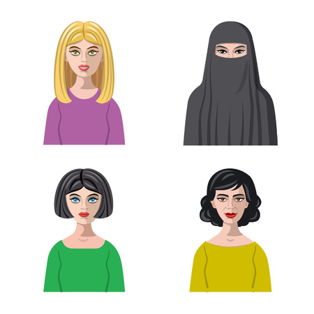Vector design of avatar and face icon. Collection of avatar and profile stock vector illustration. Çizim