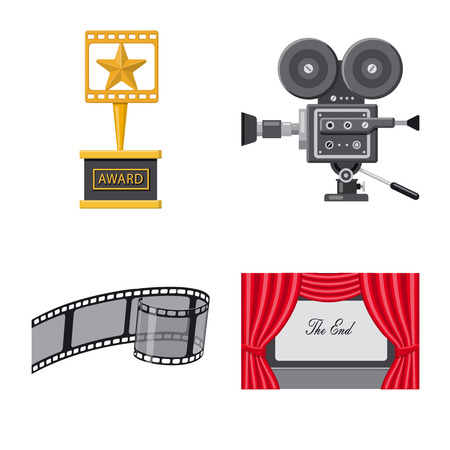 Vector design of cinema  and theater logo. Set of cinema  and entertainment stock vector illustration.