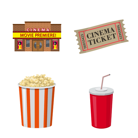 Vector design of cinema  and theater symbol. Collection of cinema  and entertainment vector icon for stock.