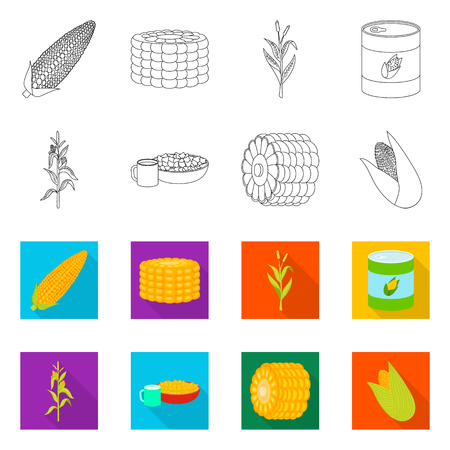 Isolated object of cornfield and vegetable icon. Collection of cornfield and vegetarian vector icon for stock.