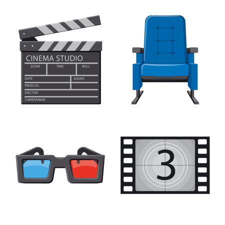 Isolated object of cinema  and theater logo. Collection of cinema  and entertainment stock vector illustration.