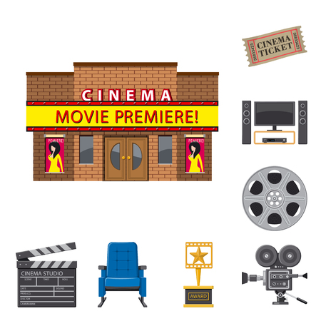 Vector design of cinema  and theater symbol. Set of cinema  and entertainment vector icon for stock.