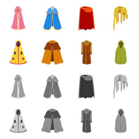 Na białym tle obiekt ikony materiału i odzieży. Zestaw ikon wektorowych materiałów i odzieży na magazynie.
