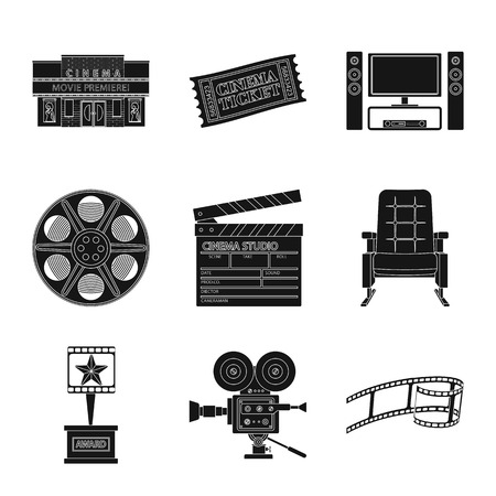 Vector design of session and viewing sign. Collection of session and theater stock vector illustration.