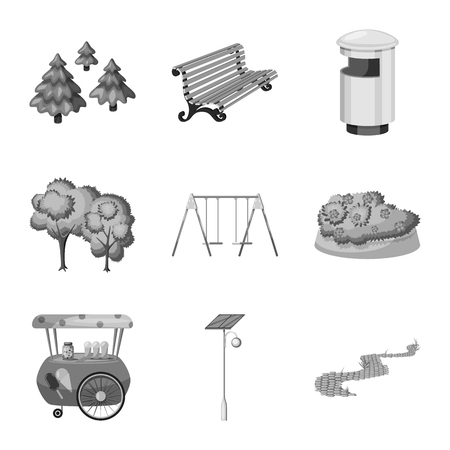 Isolated object of park and city symbol. Collection of park and street vector icon for stock.