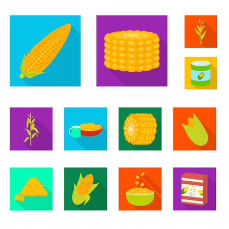 Isolated object of cornfield and vegetable sign. Collection of cornfield and vegetarian vector icon for stock.