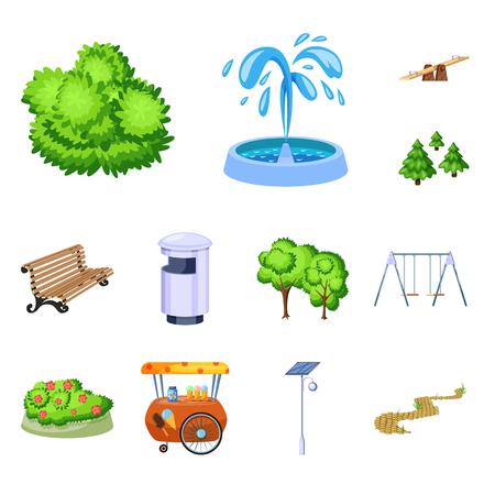 Illustration vectorielle du logo du paysage et du parc. Collection de paysage et de symbole boursier de la nature pour le web. Logo