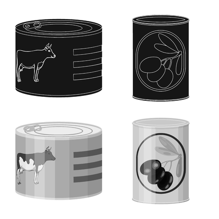 Isolated object of can and food logo. Set of can and package vector icon for stock.