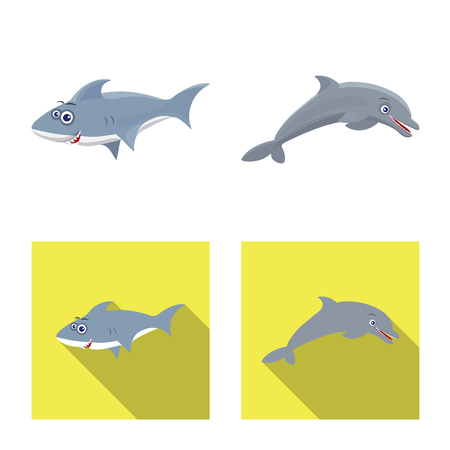 Vector illustration of sea and animal icon. Set of sea and marine stock vector illustration. Stock Illustratie