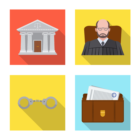 Isolated object of law and lawyer sign. Collection of law and justice stock symbol for web.