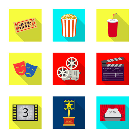 Isolated object of television and filming symbol. Collection of television and viewing stock vector illustration.