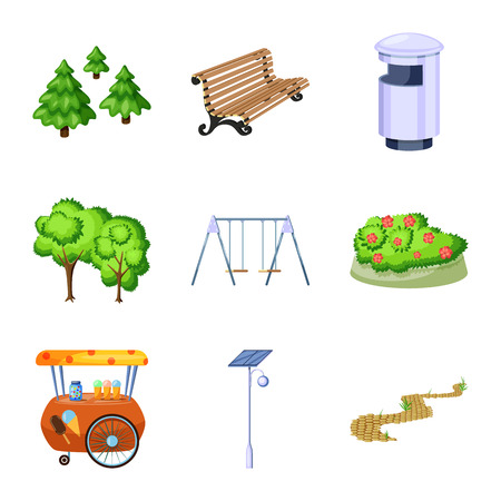 Vector design of landscape and park icon. Collection of landscape and nature stock symbol for web. Banque d'images - 123085978