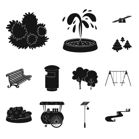 Isolated object of public and relaxation. Collection of public and park stock symbol for web.