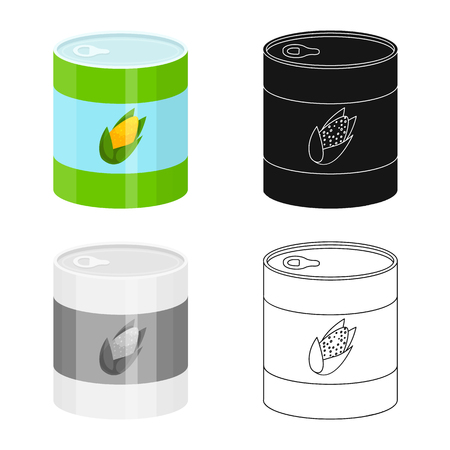 Vector illustration of corn and can icon. Collection of corn and goods stock symbol for web.