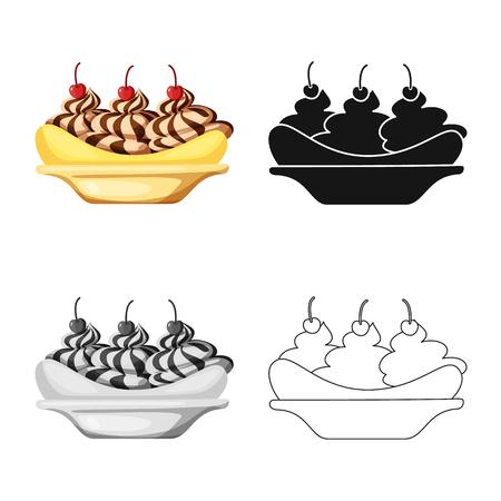 Vector design of banana and peel. Set of banana and fruit stock vector illustration. Stock Vector - 123086227