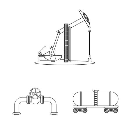 Vector illustration of oil and gas icon. Set of oil and petrol vector icon for stock. Ilustrace