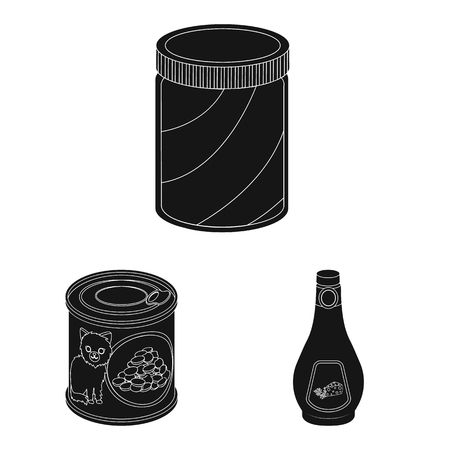 Vector illustration of can and food icon. Set of can and package stock vector illustration.