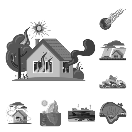 Vector design of natural and disaster sign. Collection of natural and risk stock vector illustration.