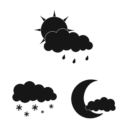 Vector illustration of weather and climate icon. Collection of weather and cloud stock symbol for web.