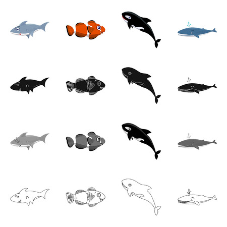 Vector design of sea and animal sign. Collection of sea and marine vector icon for stock. Ilustración de vector