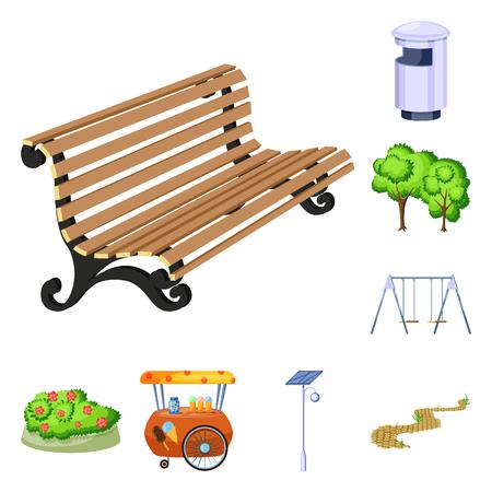 Vector illustration of landscape and park sign. Collection of landscape and nature vector icon for stock. Vecteurs