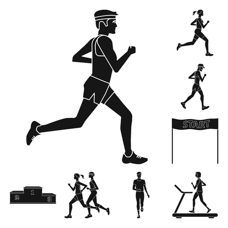 Vector illustration of health  and fitness  icon. Set of health  and sprint vector icon for stock.