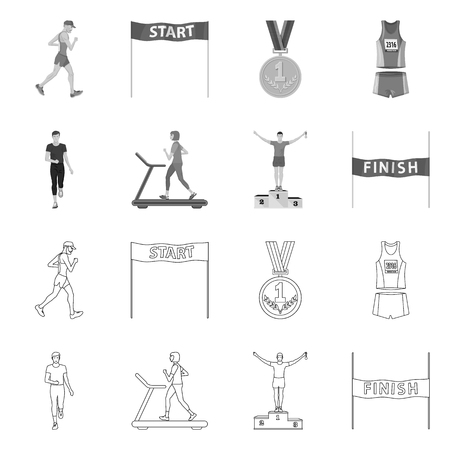 Isolated object of sport and winner. Set of sport and fitness stock symbol for web.