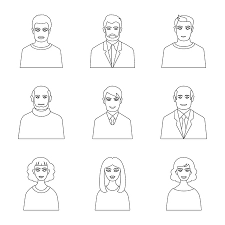 Isolated object of character  and avatar. Set of character  and person stock vector illustration.