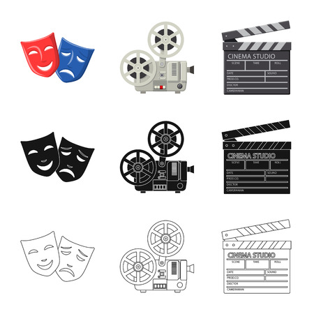 Vector illustration of television and filming icon. Set of television and viewing vector icon for stock.