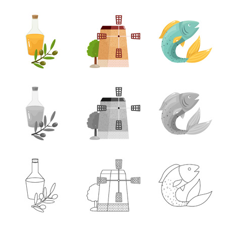 Vector illustration of  and historic icon. Collection of  and country stock vector illustration. Vettoriali