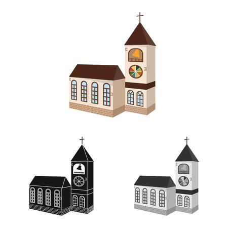 Vektor-Illustration der Kirche und der katholischen Ikone. Sammlung von Kirchen- und Religionsvektorsymbolen für Lager.