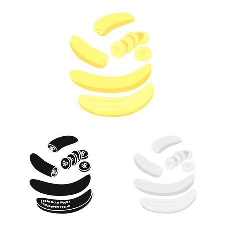 Vector design of banana and food logo. Collection of banana and peeled stock symbol for web.