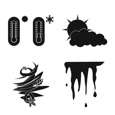 Vector illustration of weather and climate symbol. Set of weather and cloud vector icon for stock. Illustration