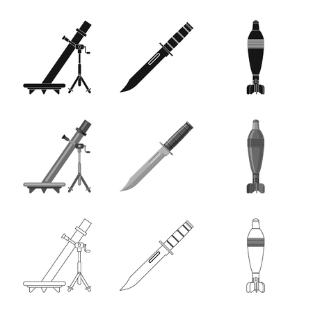 Vector illustration of weapon and gun. Collection of weapon and army stock vector illustration.