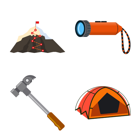 Vector design of mountaineering and peak sign. Set of mountaineering and camp vector icon for stock.