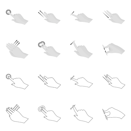 Isolated object of touchscreen and hand icon. Set of touchscreen and touch stock vector illustration.