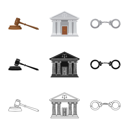 Vector design of law and lawyer sign. Set of law and justice stock vector illustration.