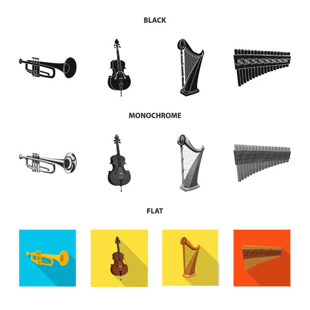 Vector illustration of music and tune. Set of music and tool stock vector illustration.