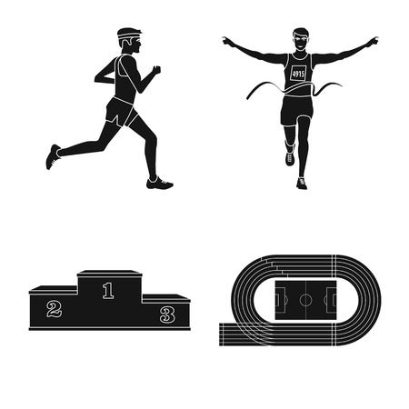 Vector illustration of health  and fitness  sign. Set of health  and sprint stock symbol for web.