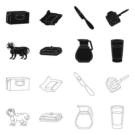Oggetto isolato di cremoso e segno di prodotto. Insieme di simbolo di borsa cremoso e fattoria per il web.