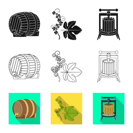 Isolated object of farm and vineyard symbol. Collection of farm and product vector icon for stock. Illustration