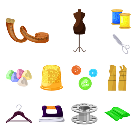 Isolated object of atelier and sewing icon. Collection of atelier and tailoring stock vector illustration.