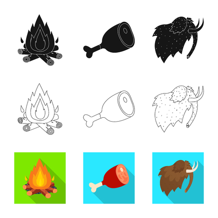 Vector illustration of evolution and neolithic symbol. Collection of evolution and primeval stock vector illustration.