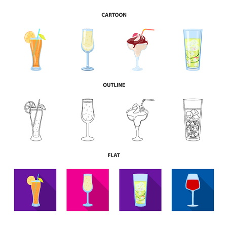 Vector illustration of liquor and restaurant. Set of liquor and ingredient stock symbol for web. Illustration