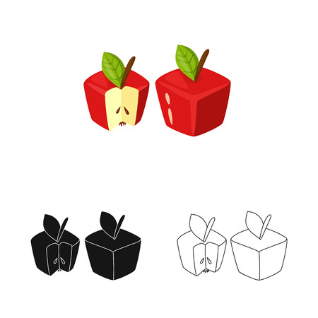 Isolated object of apple and gmo symbol. Set of apple and fresh vector icon for stock.