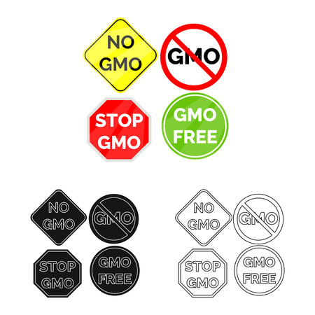 Isolated object of gmo and icon. Collection of gmo and label vector icon for stock. Illusztráció