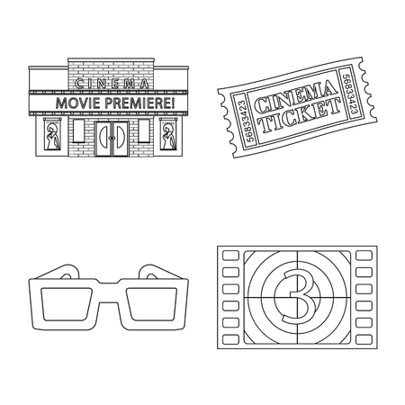 Isolated object of cinematography and studio logo. Collection of cinematography and entertainment stock vector illustration. Çizim