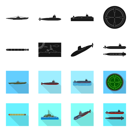 Isolated object of war and ship icon. Set of war and fleet stock symbol for web.
