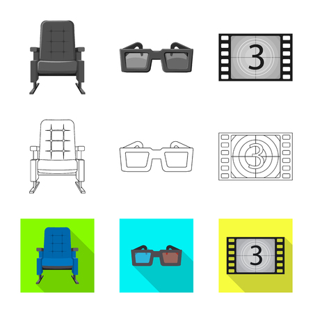 Vector illustration of television and filming logo. Collection of television and viewing stock symbol for web.