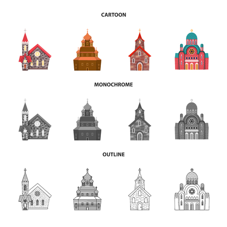 Vector illustration of cult and temple. Collection of cult and parish stock vector illustration.